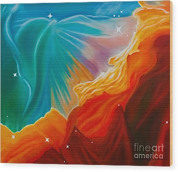 Wood Print featuring the painting Swan Nebula by Barbara McMahon