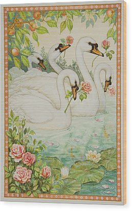 Swan Romance Wood Print by Lynn Bywaters