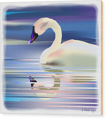 Wood Print featuring the digital art Swan Song by Arline Wagner
