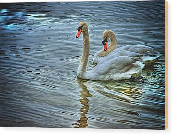 Swan Song Wood Print by Dennis Baswell
