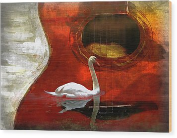 Swan Song Wood Print by Wendy Mogul