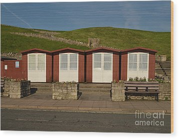 Wood Print featuring the photograph Swanage Beach Huts by Linsey Williams
