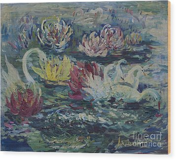 Wood Print featuring the painting Swans In Lilies  by Avonelle Kelsey