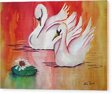 Swans In Love Wood Print by Lil Taylor