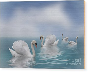 Swans In Paradise Wood Print by Shirley Mangini
