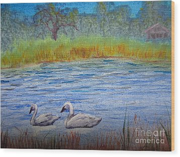 Wood Print featuring the painting Swans by Laurianna Taylor