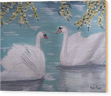 Swans On Pond Wood Print by Kat Poon