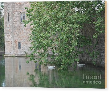 Wood Print featuring the photograph Swans Under The Palace Walls by Linda Prewer