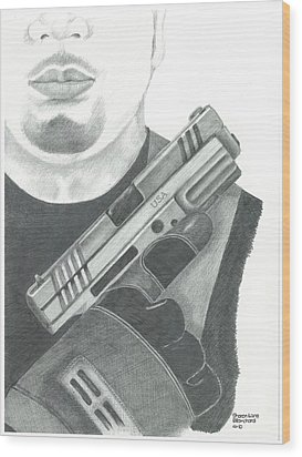 S.w.a.t. Team Leader Holding A Springfield Armory Xd 40 Cal Weapon Wood Print by Sharon Blanchard