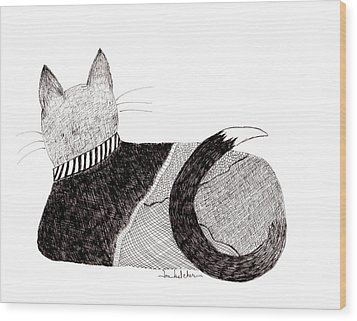 Sweater Cat Wood Print