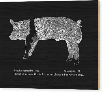 Wood Print featuring the drawing Swedish Hampshire by Larry Campbell