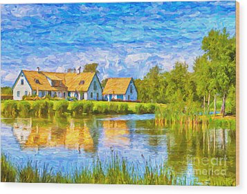 Swedish Lakehouse Wood Print by Antony McAulay
