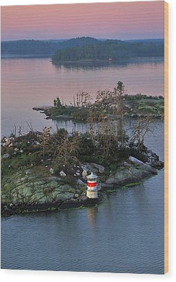 Wood Print featuring the photograph Swedish Lighthouse At Dawn by Marianne Campolongo