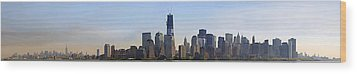 Sweeping Panorama Of New York City Before Sunset Wood Print by Sebastien Coursol