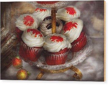 Sweet - Cupcake - Red Velvet Cupcakes  Wood Print by Mike Savad