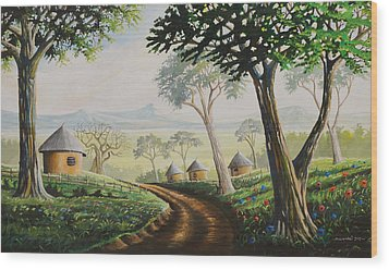 Wood Print featuring the painting Sweet Home by Anthony Mwangi