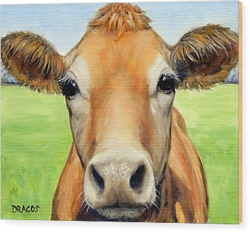Sweet Jersey Cow In Green Grass Wood Print