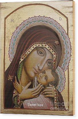 Wood Print featuring the painting Sweet Kiss  Icon by Sorin Apostolescu