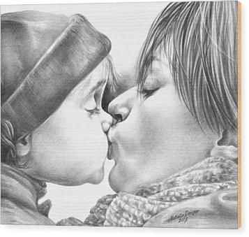 Sweet Kiss Wood Print by Natasha Denger