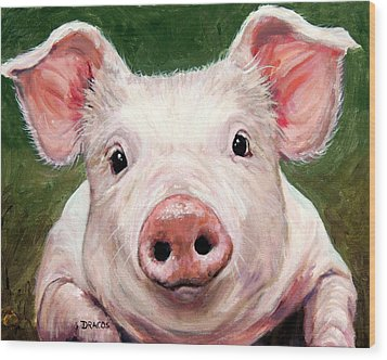 Sweet Little Piglet On Green Wood Print