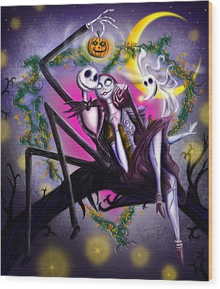 Sweet Loving Dreams In Halloween Night Wood Print by Alessandro Della Pietra