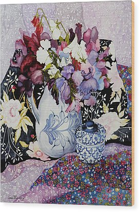 Sweet Peas In A Blue And White Jug With Blue And White Pot And Textiles  Wood Print by Joan Thewsey