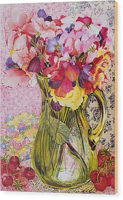 Sweet Peas With Cherries And Strawberries Wood Print by Joan Thewsey