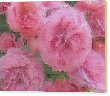 Wood Print featuring the mixed media Sweet Pink Roses  by Gabriella Weninger - David