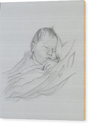 Wood Print featuring the drawing Sweet Sleep 2 by Sharon Schultz