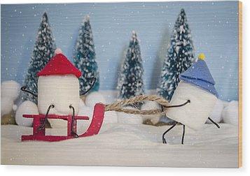 Sweet Sleigh Ride Wood Print by Heather Applegate