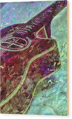 Sweet Sounds 3 Digital Guitar Art By Steven Langston Wood Print by Steven Lebron Langston