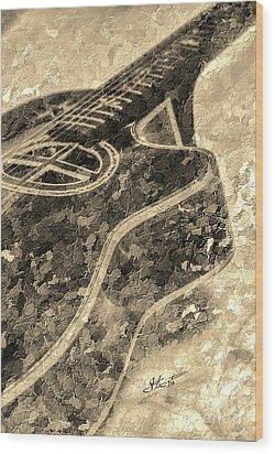 Sweet Sounds Digital Guitar Art By Steven Langston Wood Print by Steven Lebron Langston