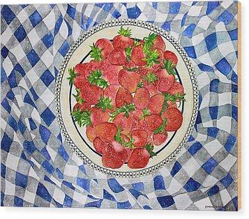 Sweet Strawberries Wood Print by Janet Immordino