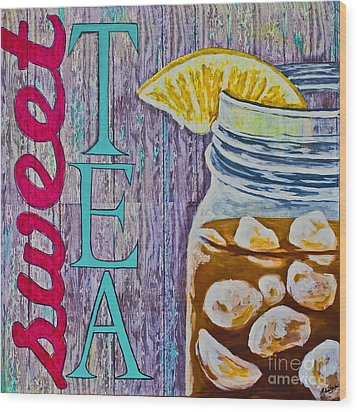 Wood Print featuring the mixed media Sweet Tea by Melissa Sherbon