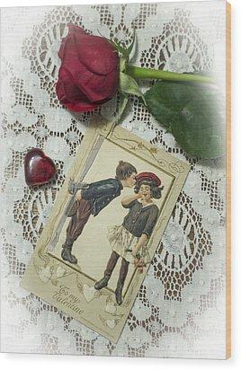 Sweet Valentine Couple Wood Print by Wayne Meyer