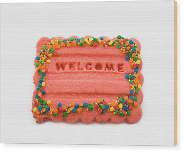 Sweet Welcome Mat Wood Print