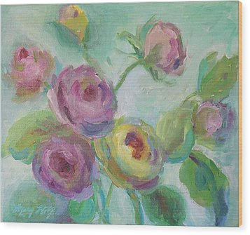 Wood Print featuring the painting Sweetness Floral Painting by Mary Wolf