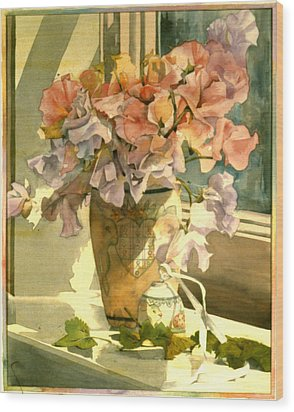 Sweetpea On The Windowsill Wood Print by Julia Rowntree