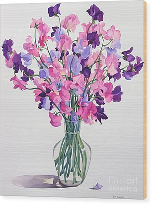 Sweetpeas Wood Print by Christopher Ryland