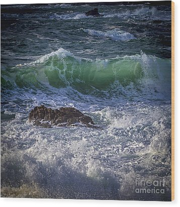 Swells In Doninos Beach Galicia Spain Wood Print