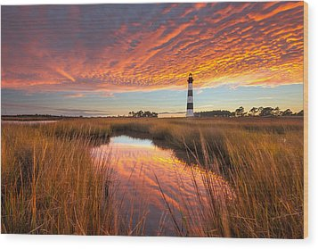 Swept Away - Bodie Island Lighthouse Wood Print by Bernard Chen