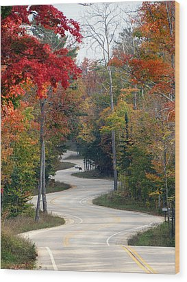 Swervy Road At North Port Wood Print by David T Wilkinson