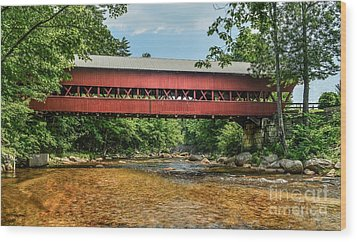 Wood Print featuring the photograph Swift River Covered Bridge Hew Hampshire by Debbie Green