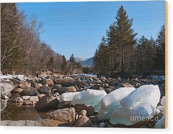 Swift River Ice Blocks Wood Print by Sharon Seaward