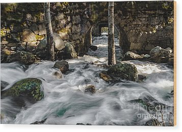 Swift Water Wood Print by Mitch Shindelbower