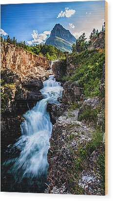 Swiftcurrent Falls Wood Print by Aaron Aldrich