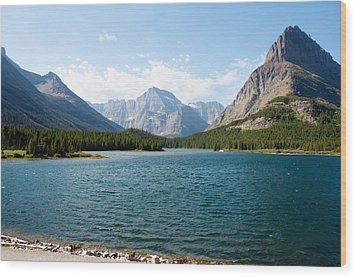 Swiftcurrent Lake Wood Print by John M Bailey