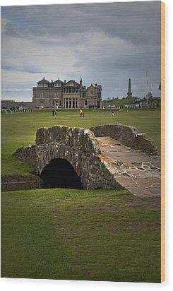 Swilken Bridge Vignette St Andrews Old Course Scotland Wood Print by Sally Ross