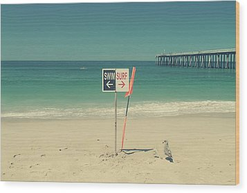 Swim And Surf Wood Print by Laurie Search