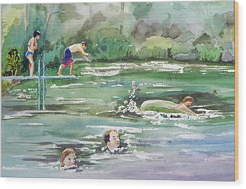 Swim At Little Elk Lake Wood Print by Christine Lathrop